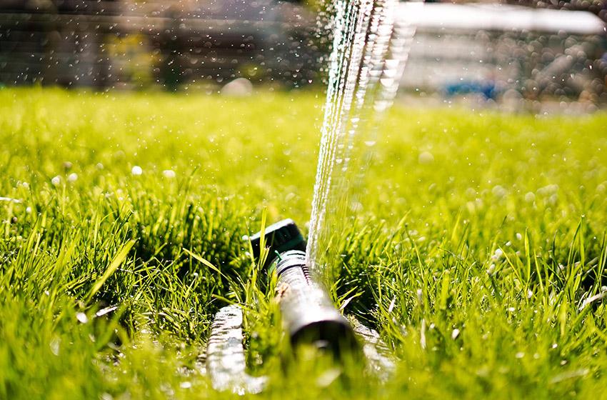 Bewässerungsanlage auf grünem Rasen
